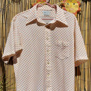 Van Heusen Short Sleeve Shirt - White with Pattern